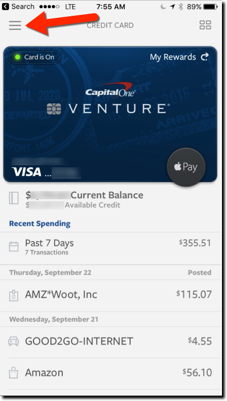 Capital One Wallet iOS Previous